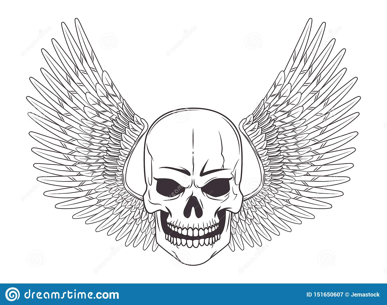 skull with wing drawn tattoo icon stock vector