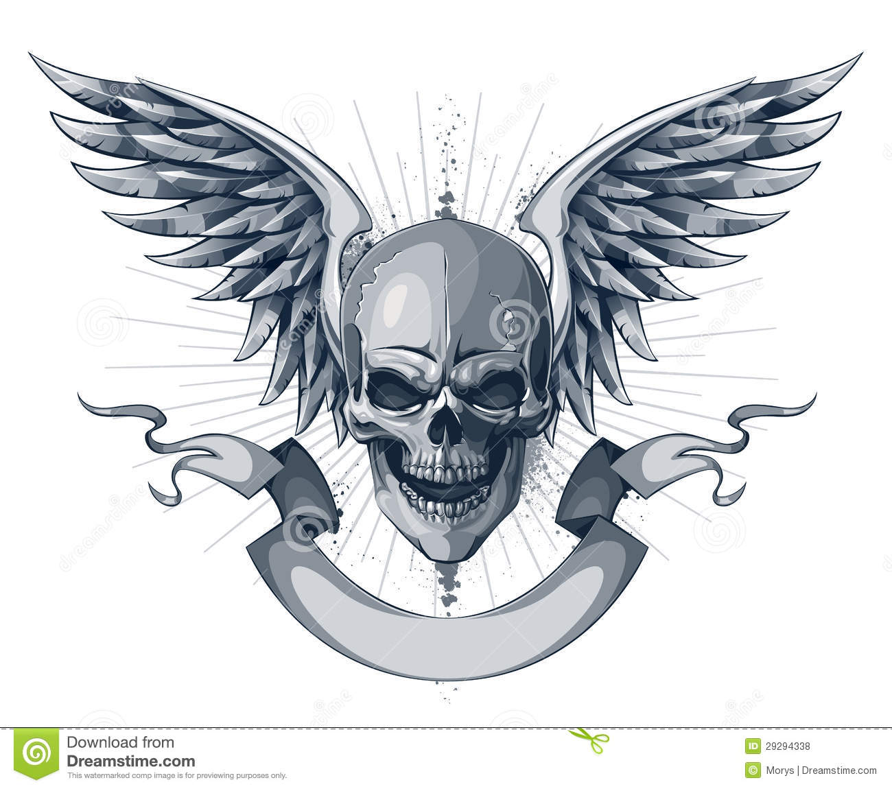 Skull with wings and ribbon. Tattoo style with grunge elements. EPS 8 ...