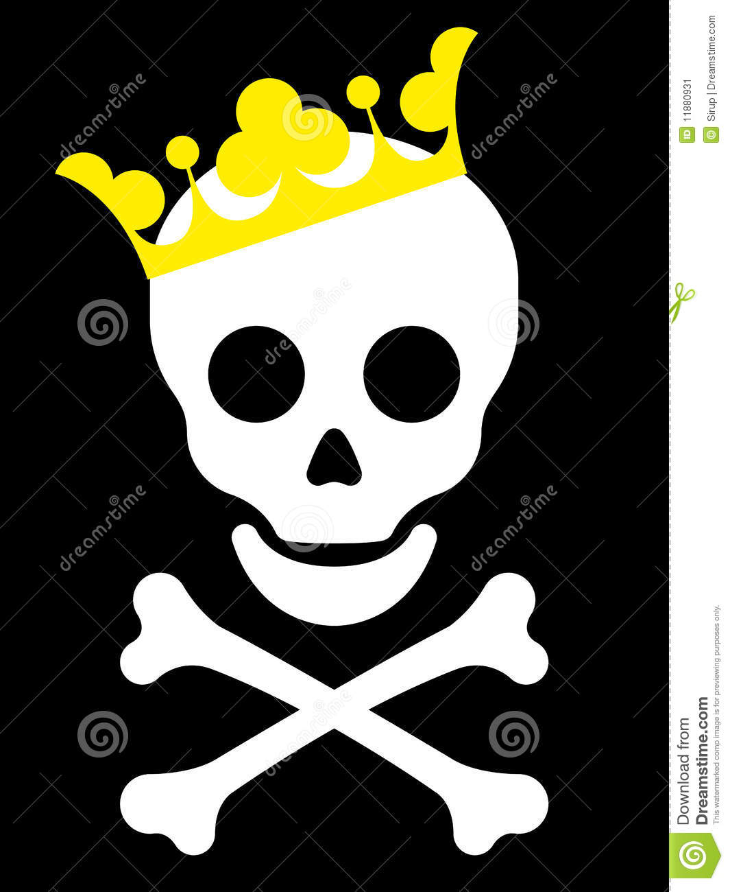 Skull with yellow crown