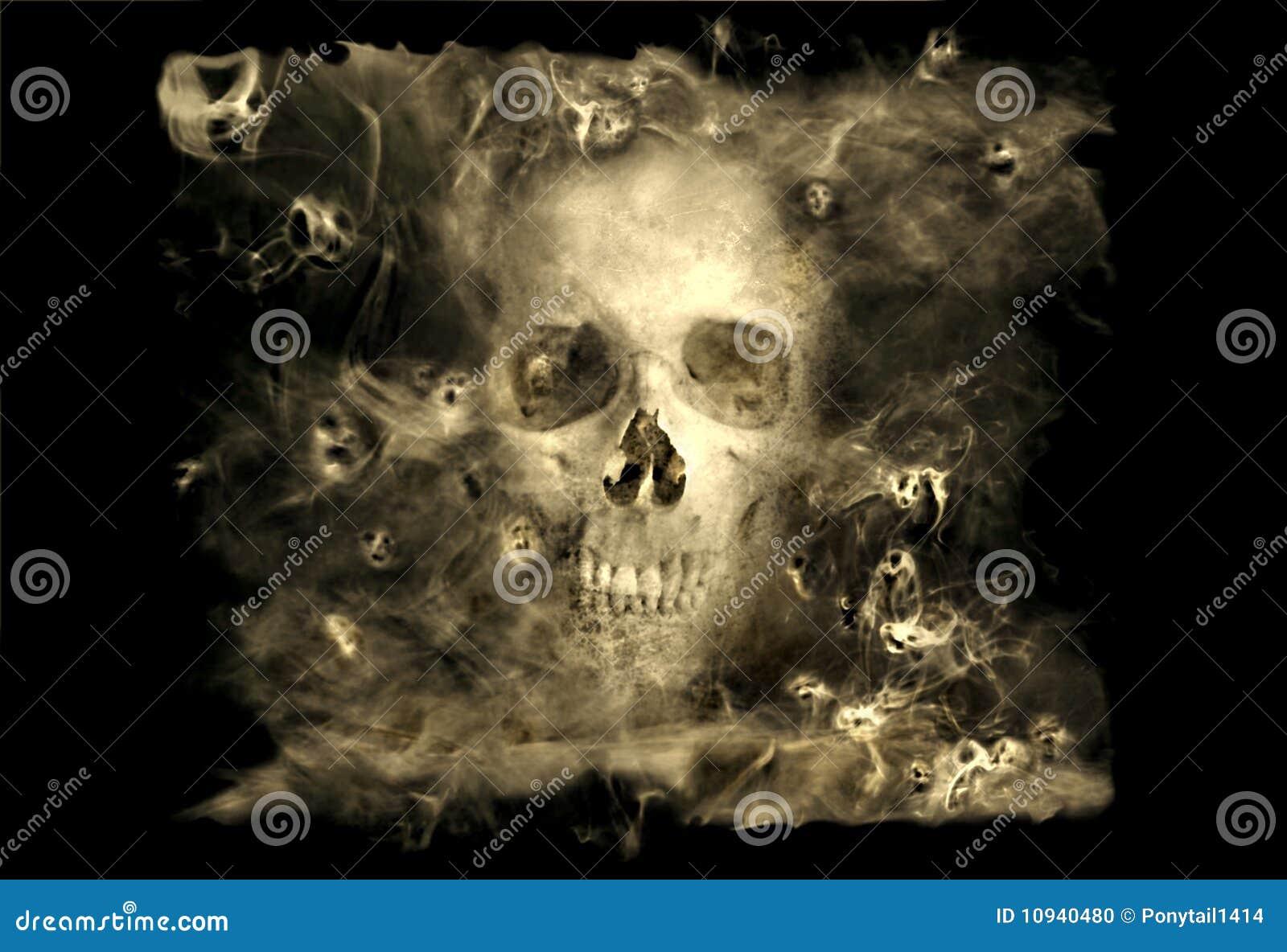 Skulll com demónios do fumo