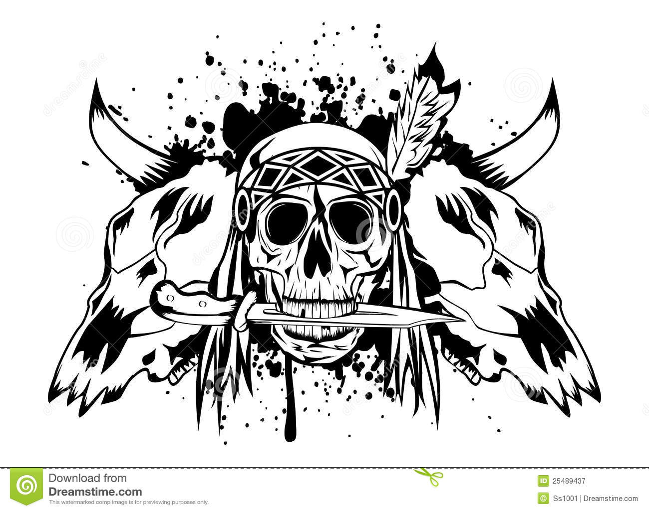 Skulls Bull And Skull Indian Royalty Free Stock