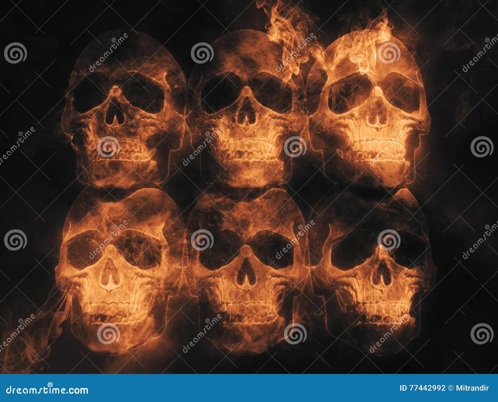 skulls fire and flame stock illustration illustration of bone