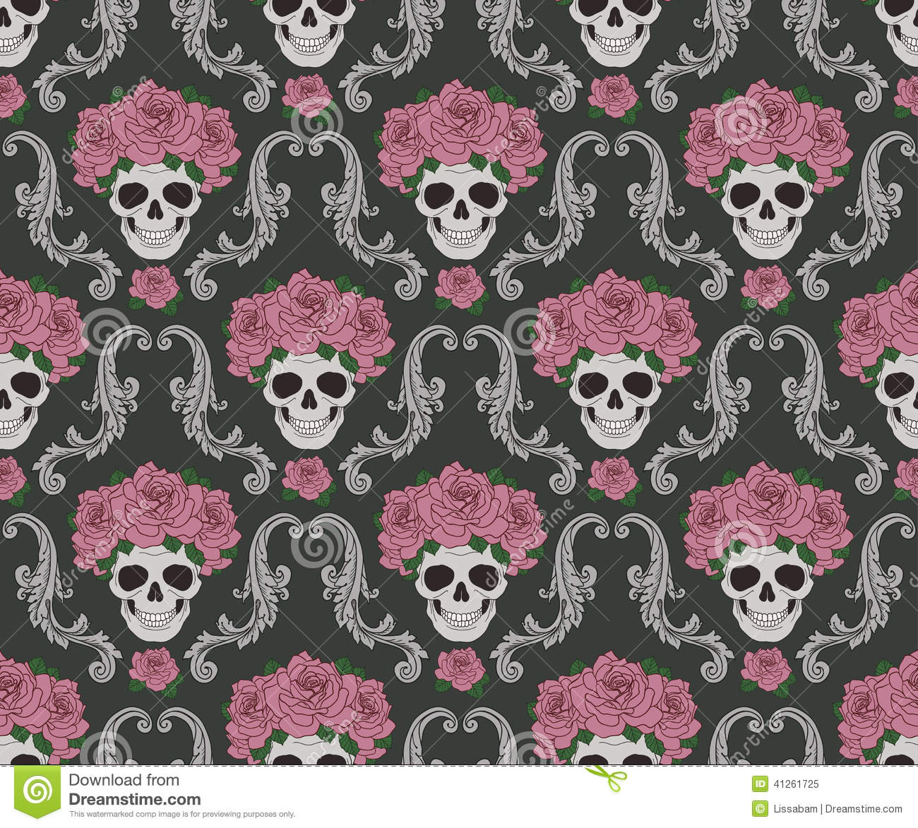 Skulls And Roses Damask Pattern Stock Vector - Image: 41261725