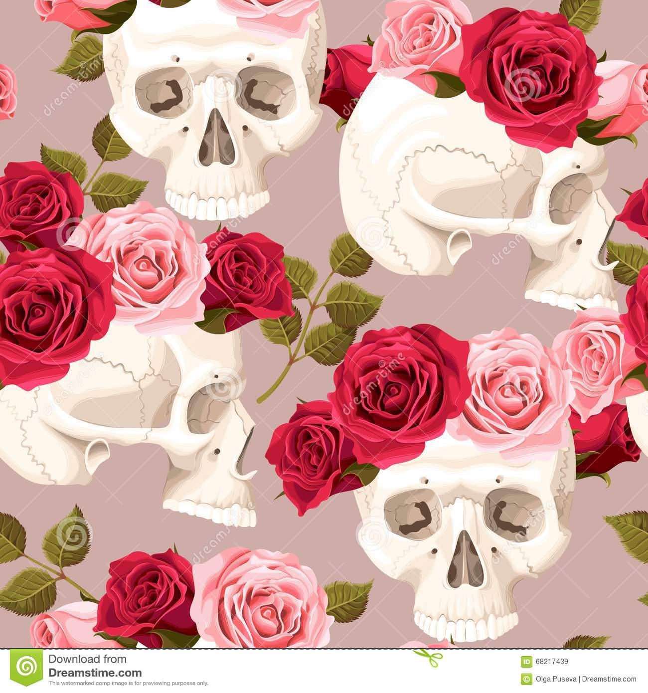 Skulls And Roses Seamless Stock Vector Illustration Of Head 68217439