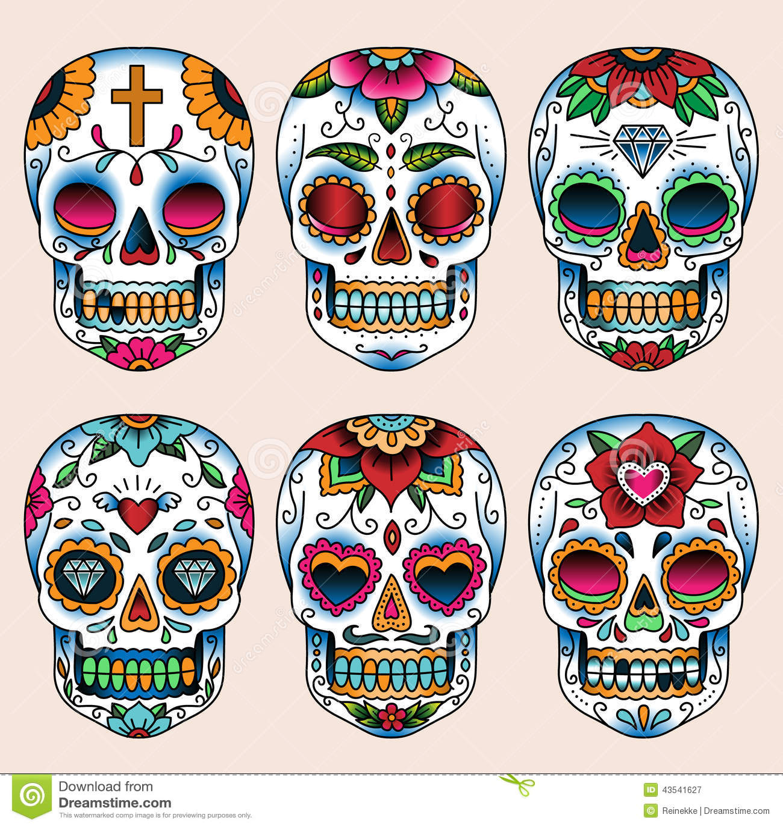 Calavera Tattoo Flash skulls stock vector. illustration of white, design, skeleton
