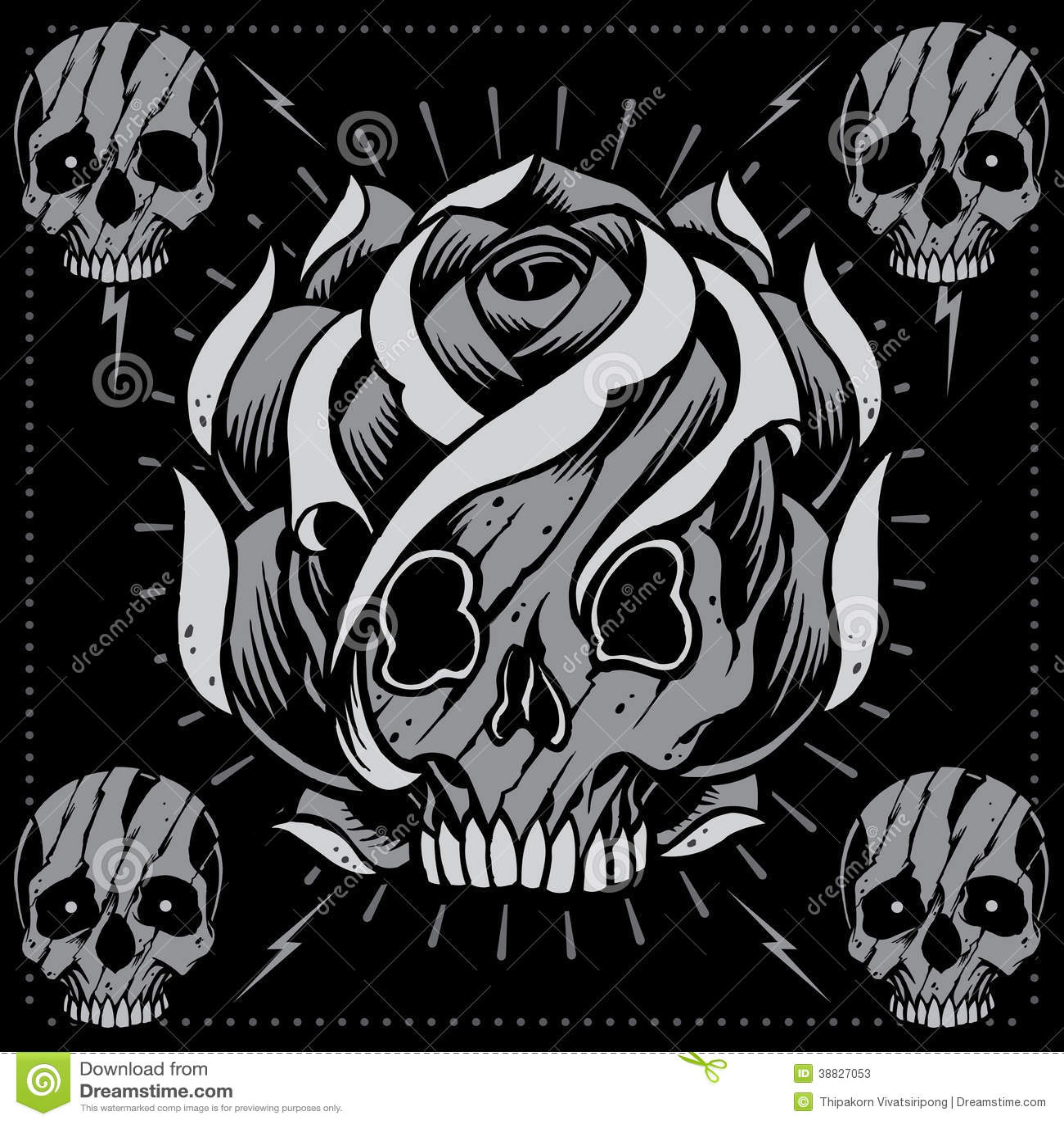 Skulls And Skull Rose Shape Vector Stock  Image 38827053