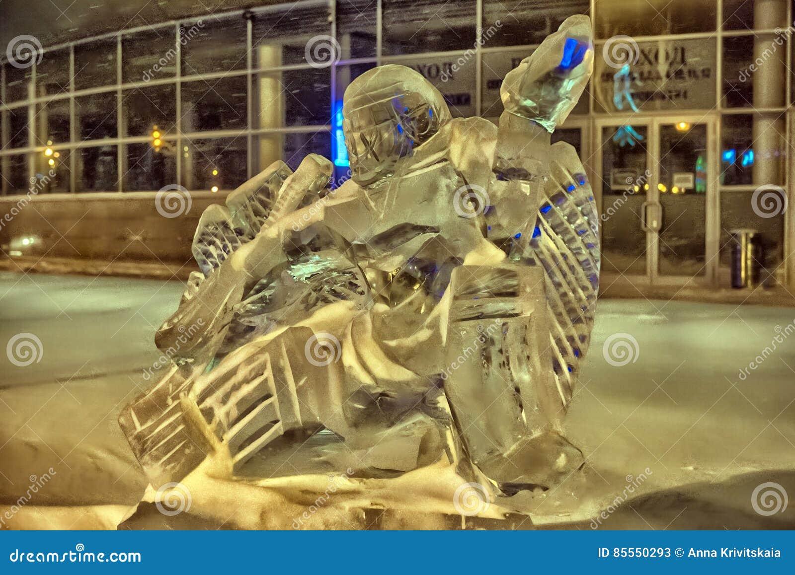 Skulptur gemacht vom Eishockey