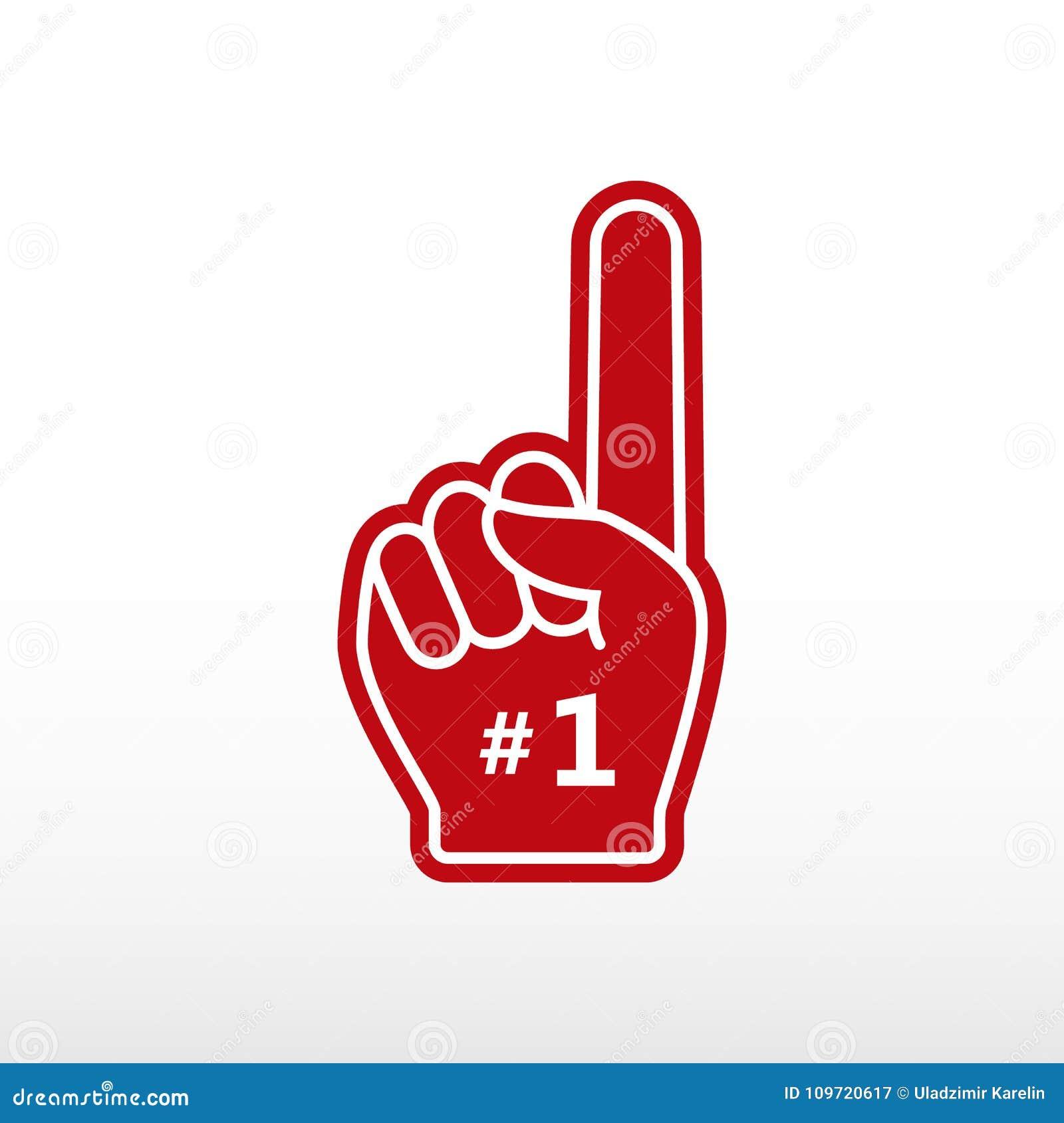 Skumfinger Numrera 1, handske med fingret som framlänges lyfts, fanhanden