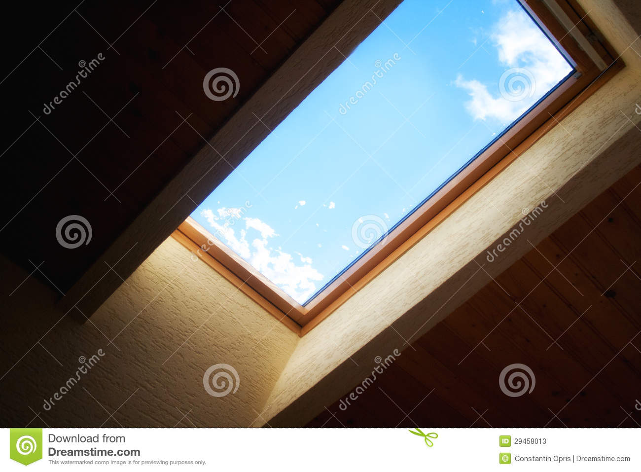 Sky through attic window