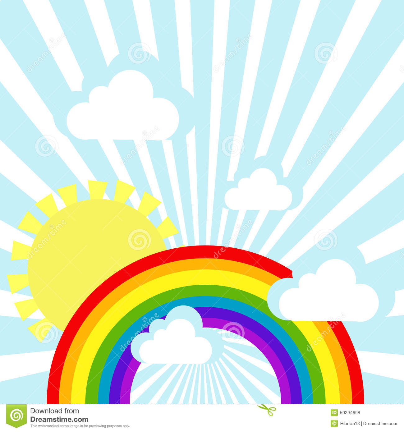 Sky background with clouds, sun and rainbow