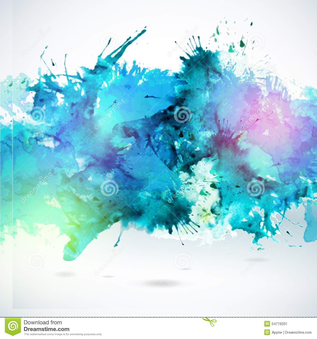 Sky Blue Centered Decorative Watercolor Background Stock ...