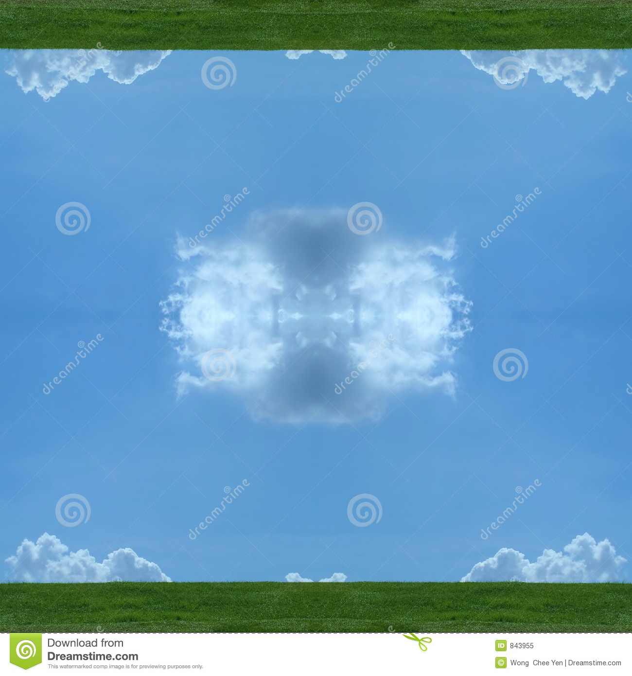 Sky, clouds and earth mirrored