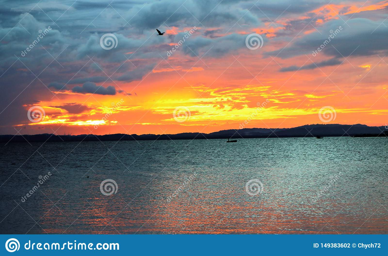 `Sky on fire`: sunset of Nicaragua Lake, Ometepe Island, Nicaragua