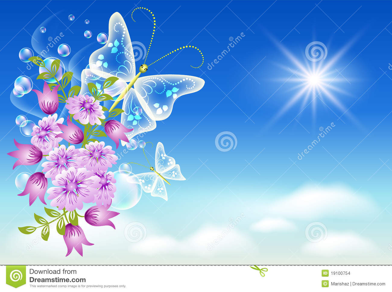 sky flowers and butterfly stock vector image 19100754