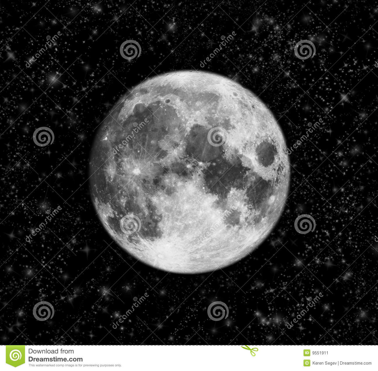 Sky With Full Moon And Stars Stock Image - Image: 9551911