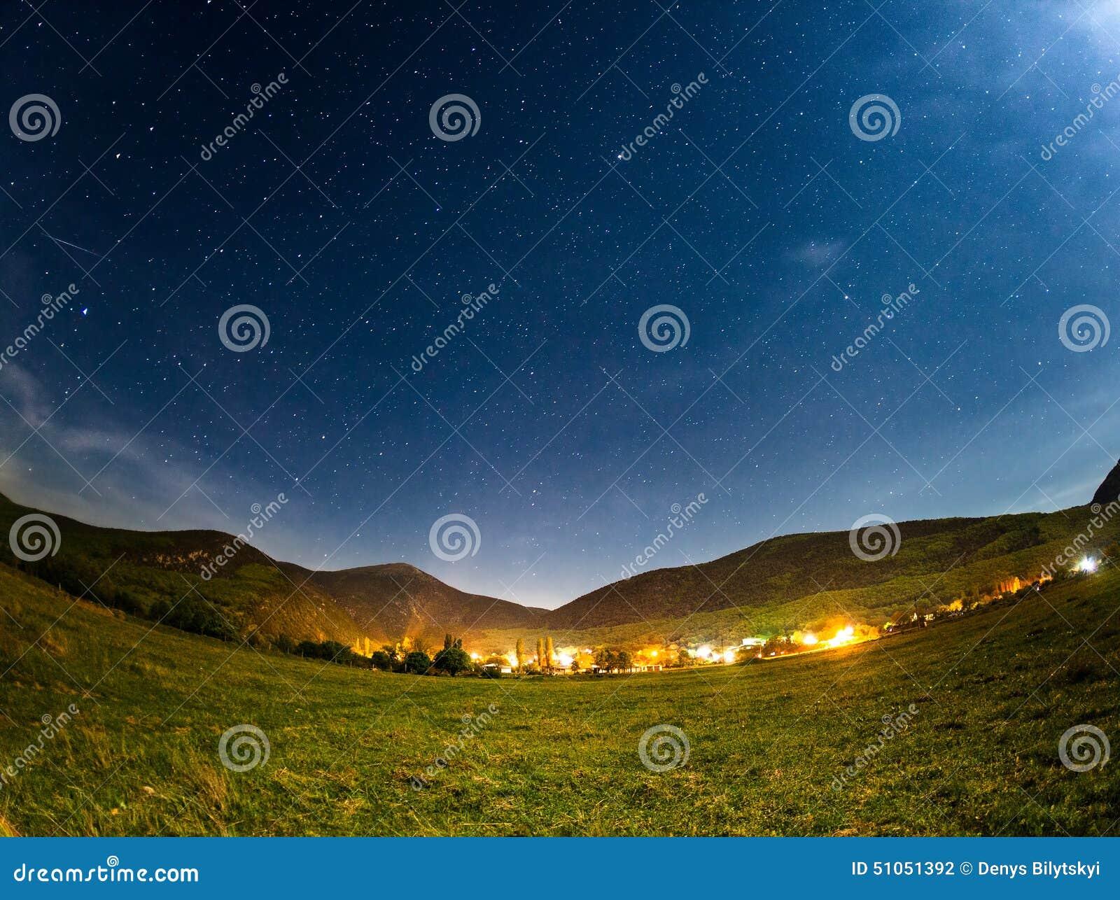 Sky Full Of Stars. Beautiful Summer Night Stock Photo
