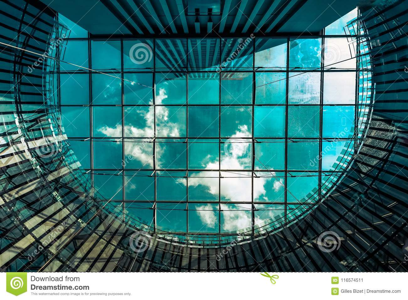 The sky through the glass roof