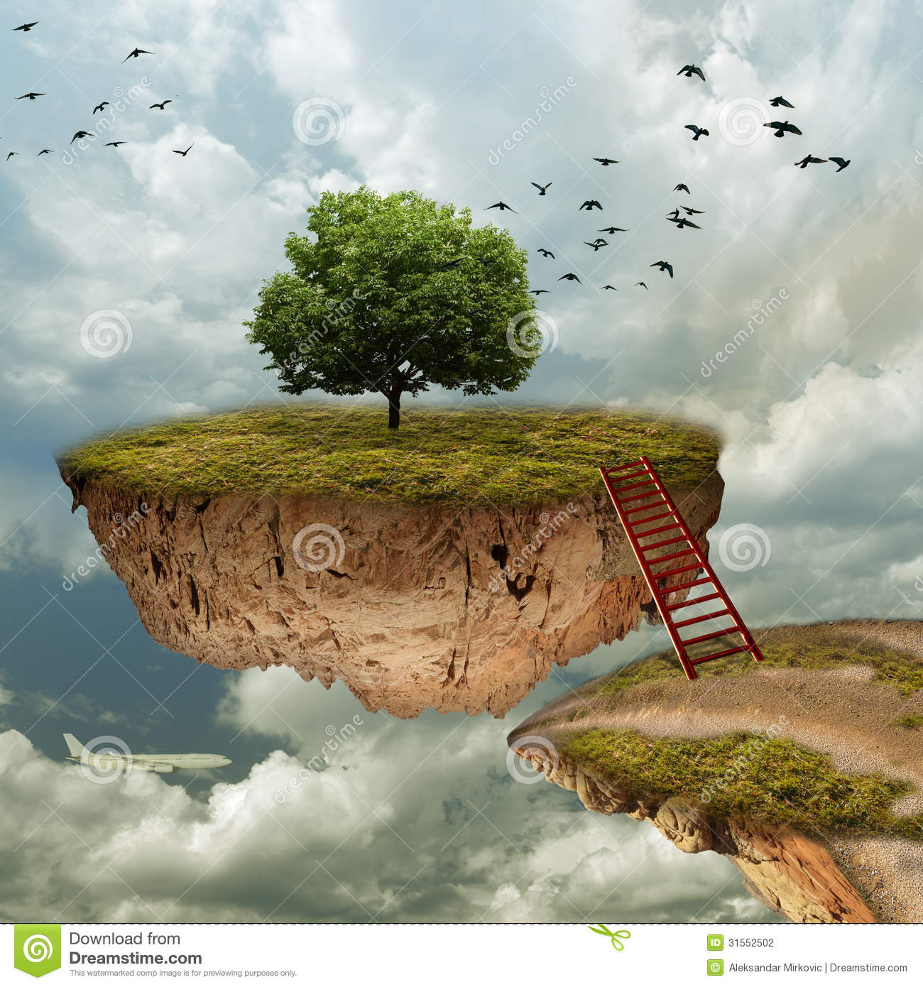 Sky Island Stock Illustration Image Of Edge Cloudy