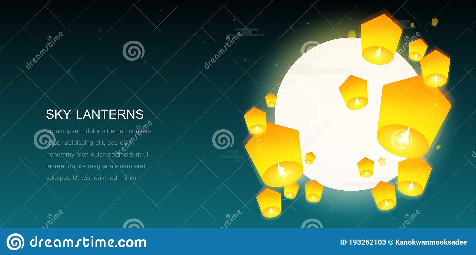 Sky Lanterns Floating In The Night Sky With A Full Moon Stock Vector Illustration Of Concept Beautiful 193262103
