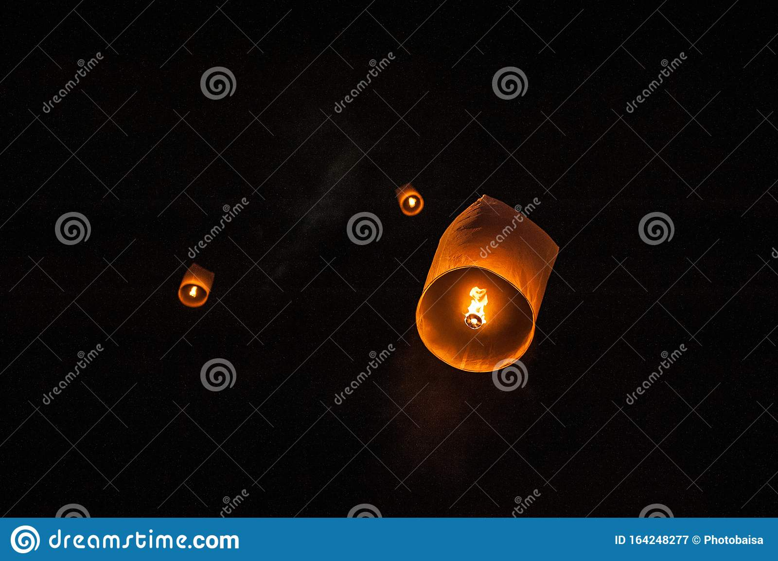 Sky Lanterns Flying Lanterns Floating Lanterns Hot Air Balloons On Dark Night Sky With Moon New Year And Yeepeng Festival Stock Image Image Of Float Festival 164248277
