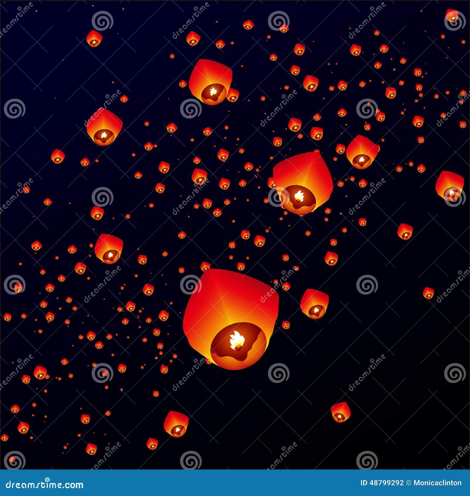 Sky Lanterns, Flying Lanterns Stock Illustration - Illustration of ... for Sky Lanterns Over Water  103wja