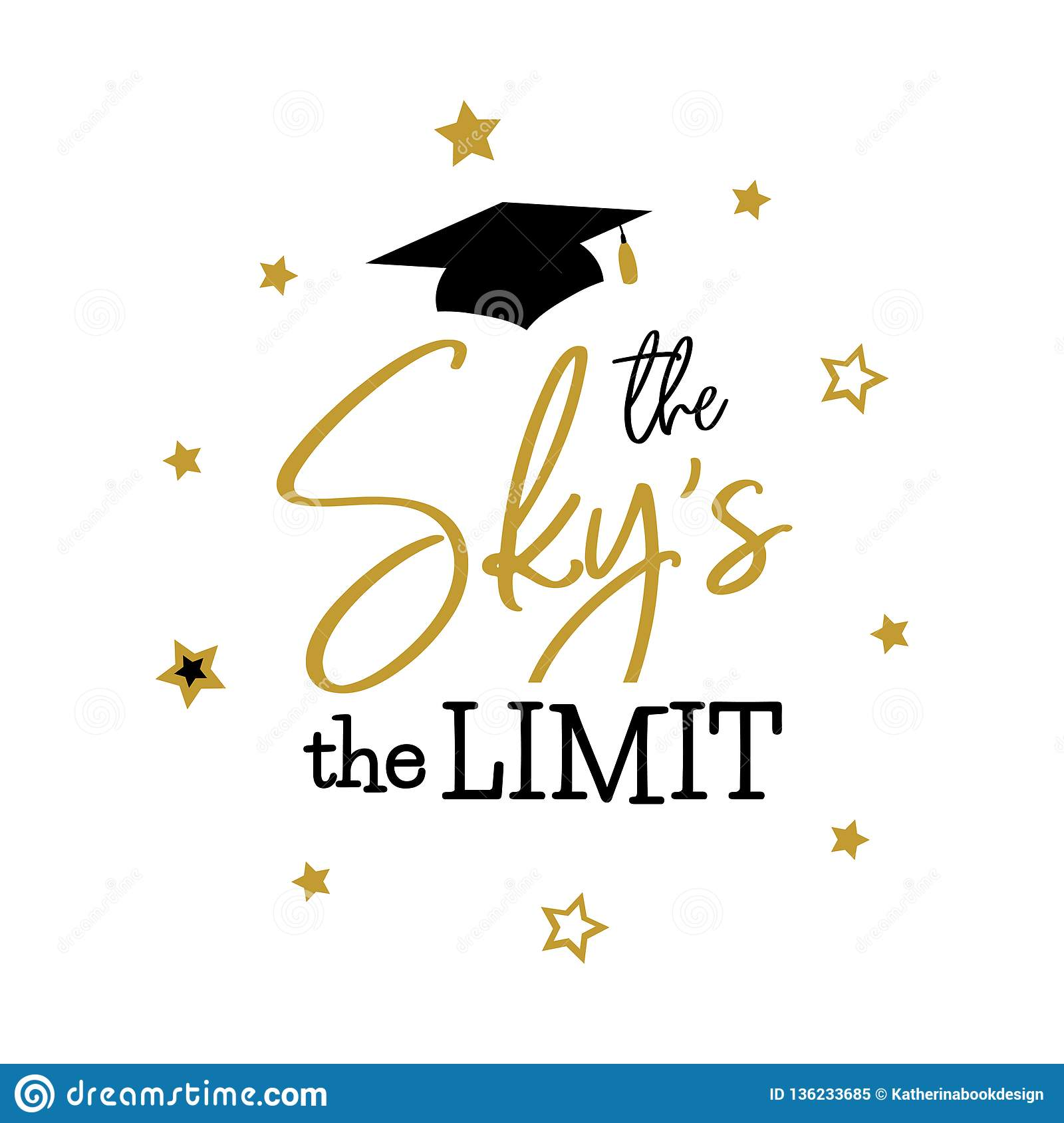 the sky the limit congrats graduates class stock vector