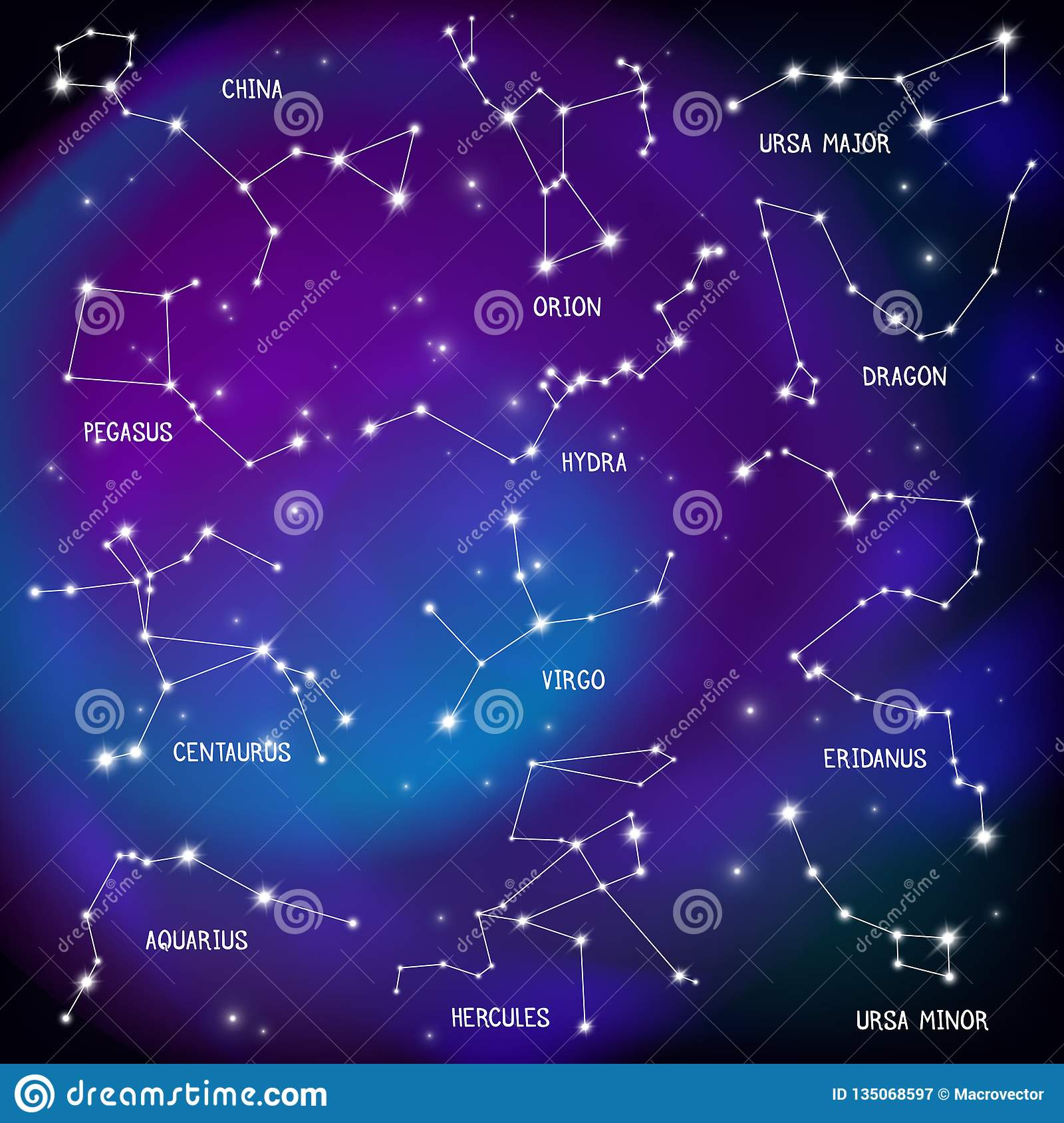 Sky Map Constellations Background Stock Vector Illustration Of