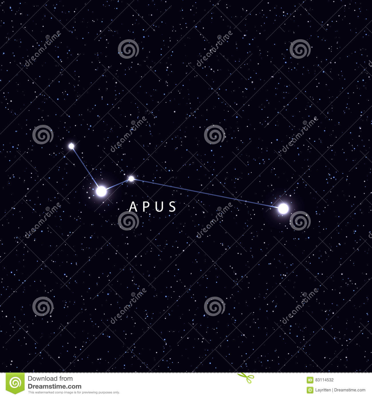 Sky Map With The Name Of The Stars And Constellations. Stock Vector ...