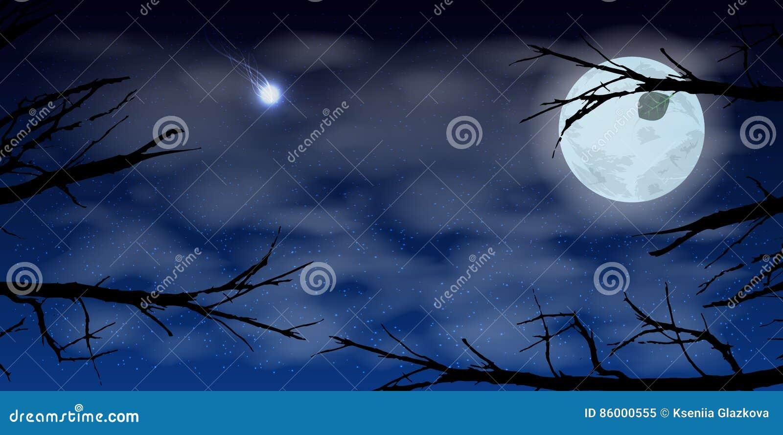 sky moon night clouds trees. illustration stock illustration