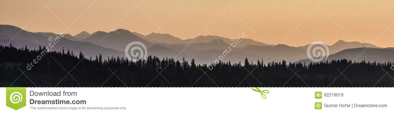 Sky, mountains and forest
