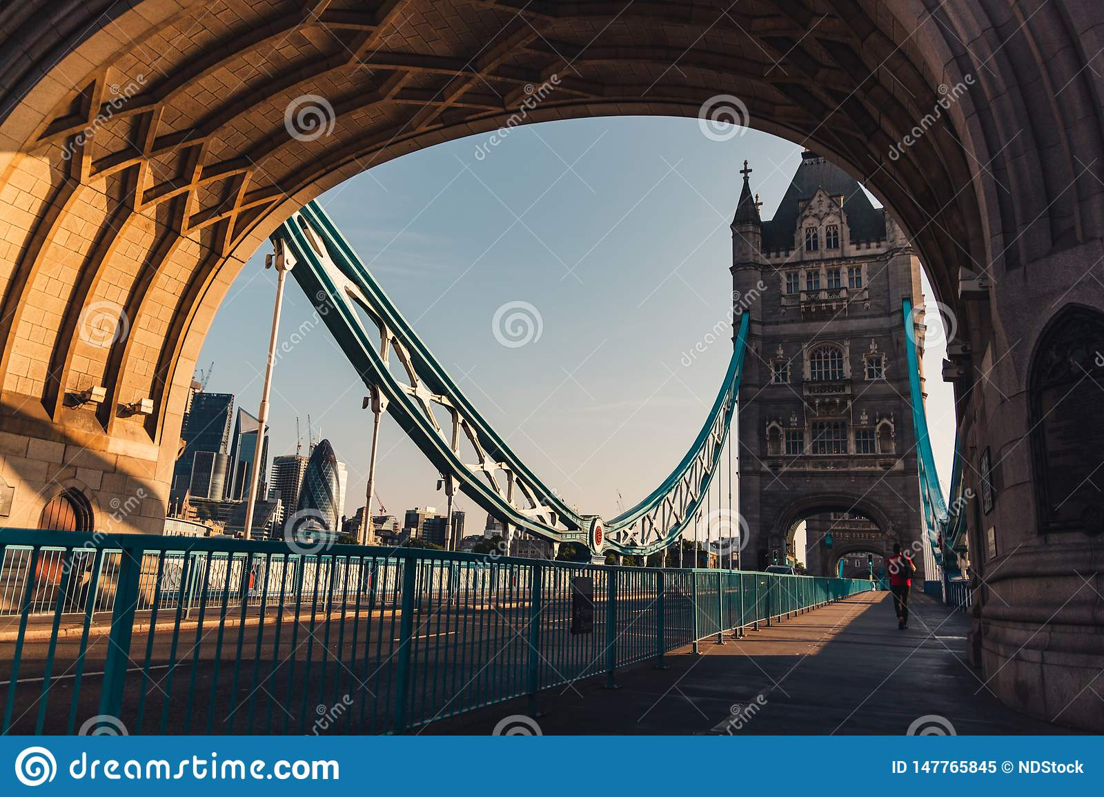 Sunrise on the tower bridge in london, picture from the sidewalk of the drawbridge
