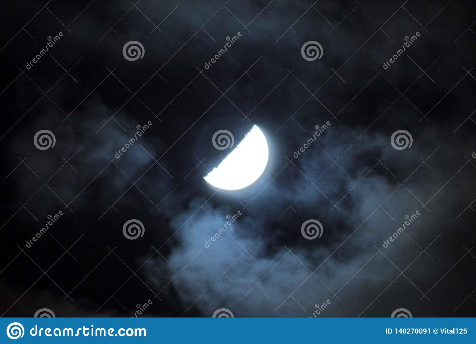 Moon lights and clouds observing on ksy