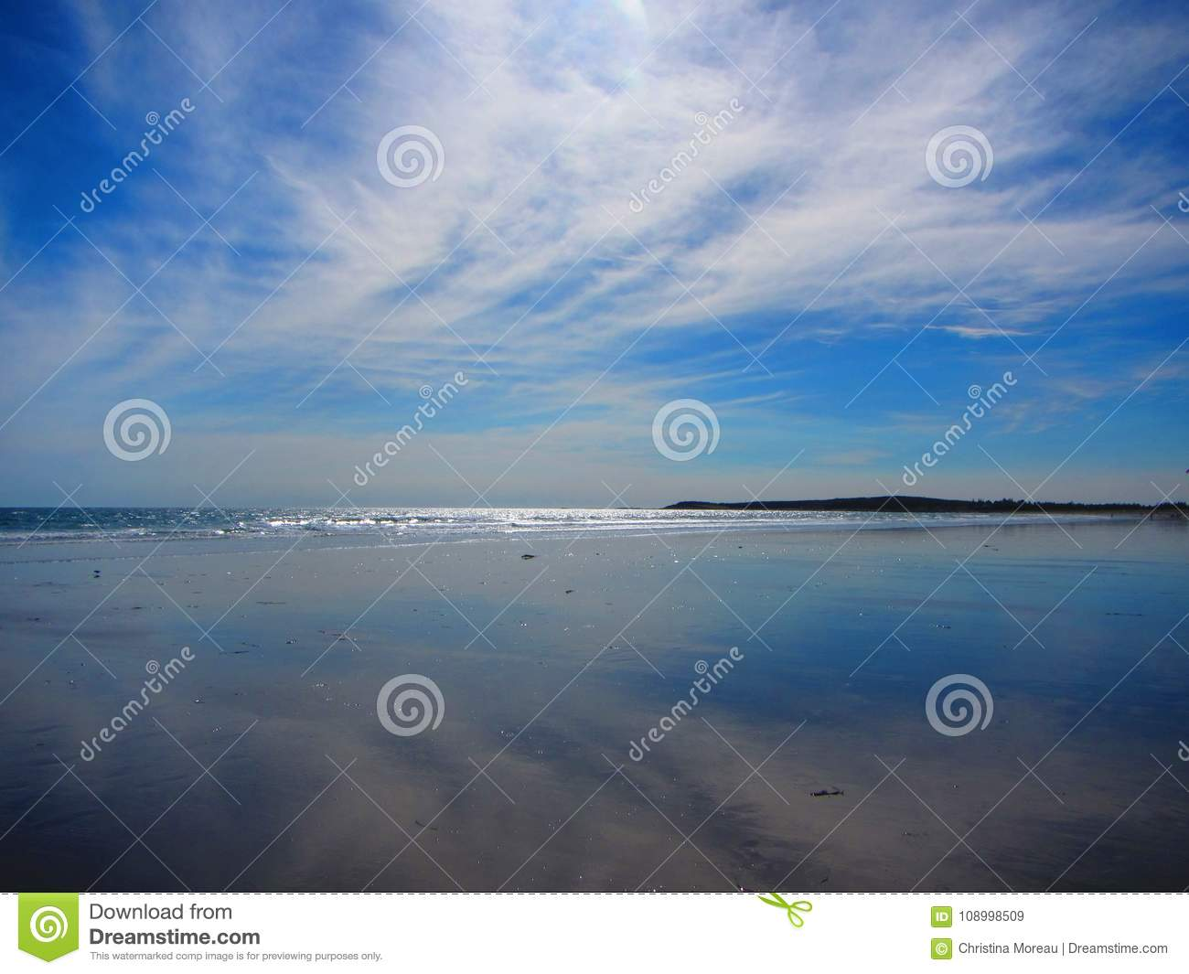 Sky Reflecting On The Sand At A Beach Stock Image - Image of beaches