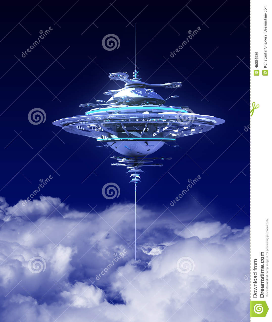 Sky Station Above The Clouds Stock Illustration ...