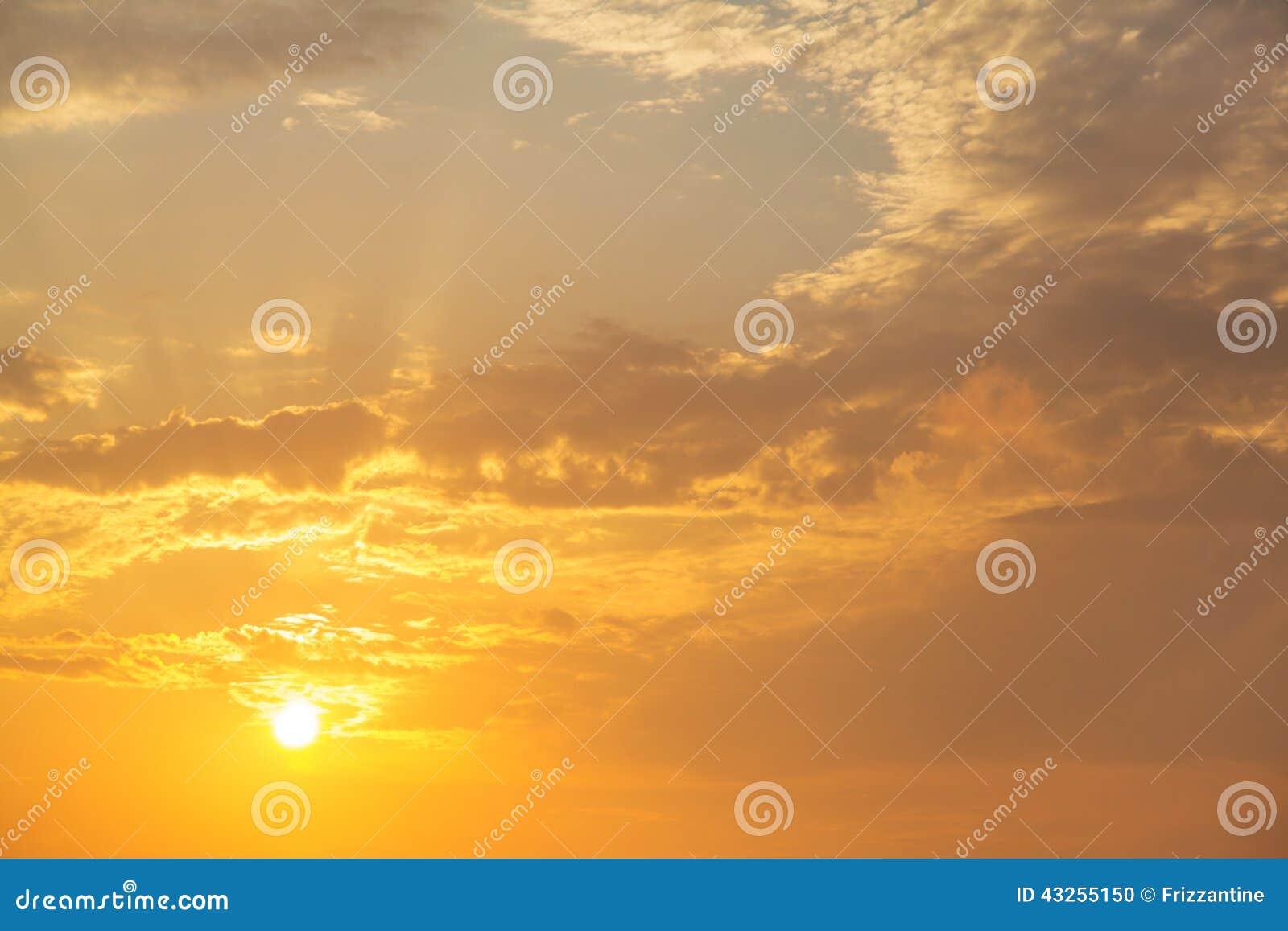 Sky Sunset Dreams Sunrise On Cloudy Background Stock