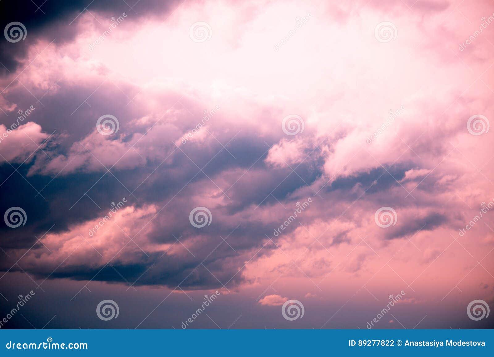 Sky sunset pink blue clouds