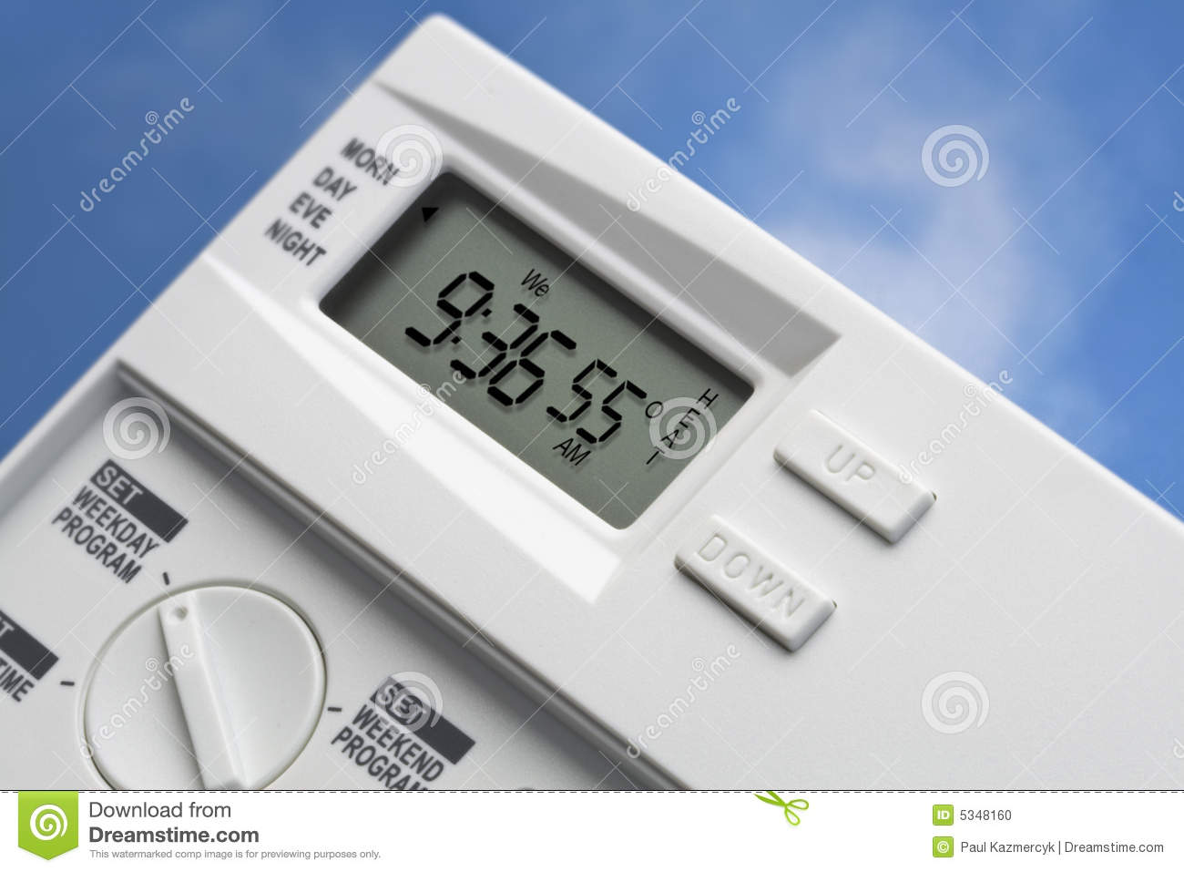 Sky Thermostat 55 Degrees Heat V2 Stock Photo Image 5348160