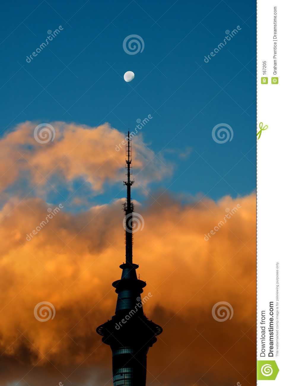 Sky tower at sunset
