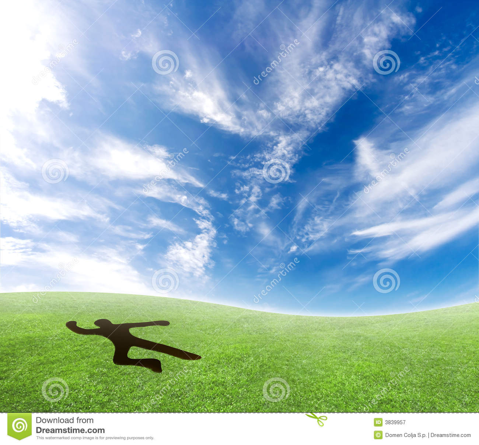 Skydiver die van de hemel valt.