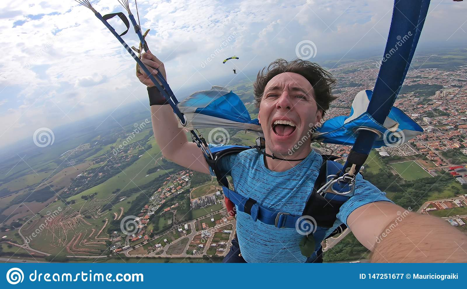 Skydiver making a selfie after the free fall
