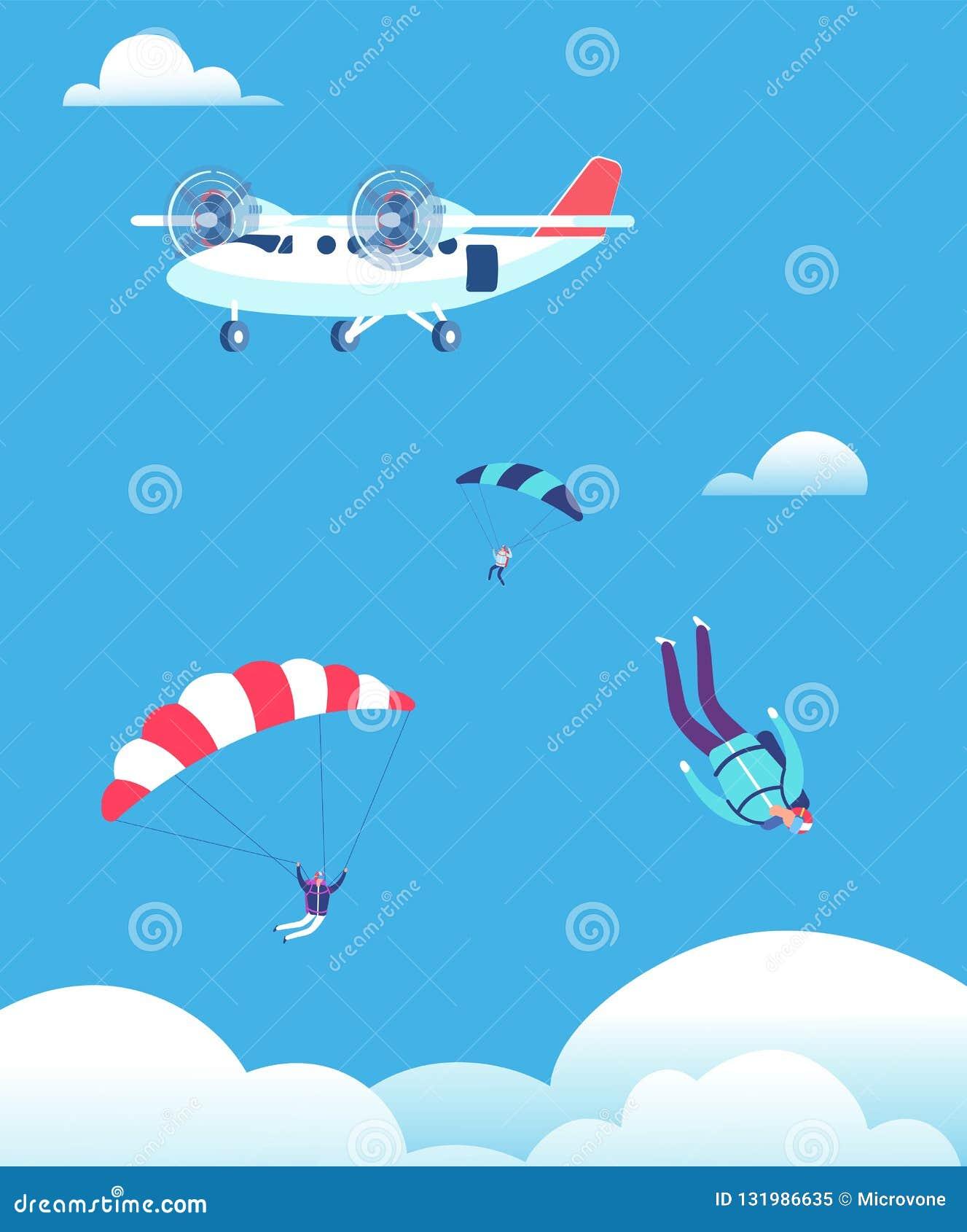 Skydiving концепция Parachutists скача из самолета в голубом небе Иллюстрация вектора skydivers людей