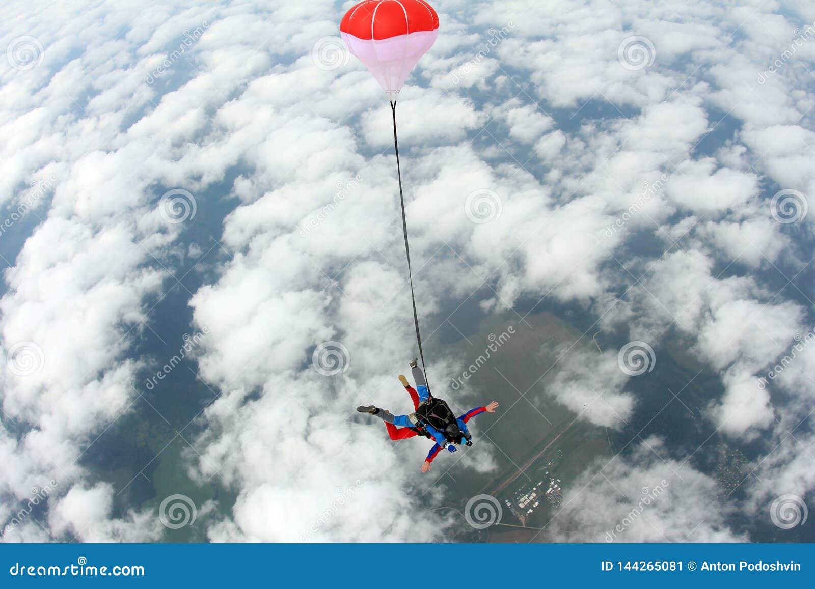 Skydiving 纵排跃迁 辅导员和印度乘客