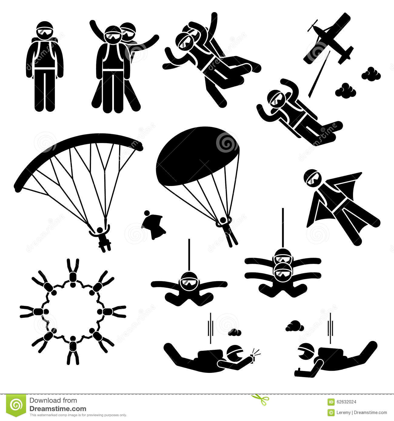 Skydiving Skydives Skydiver Parachute Wingsuit Clipart ...