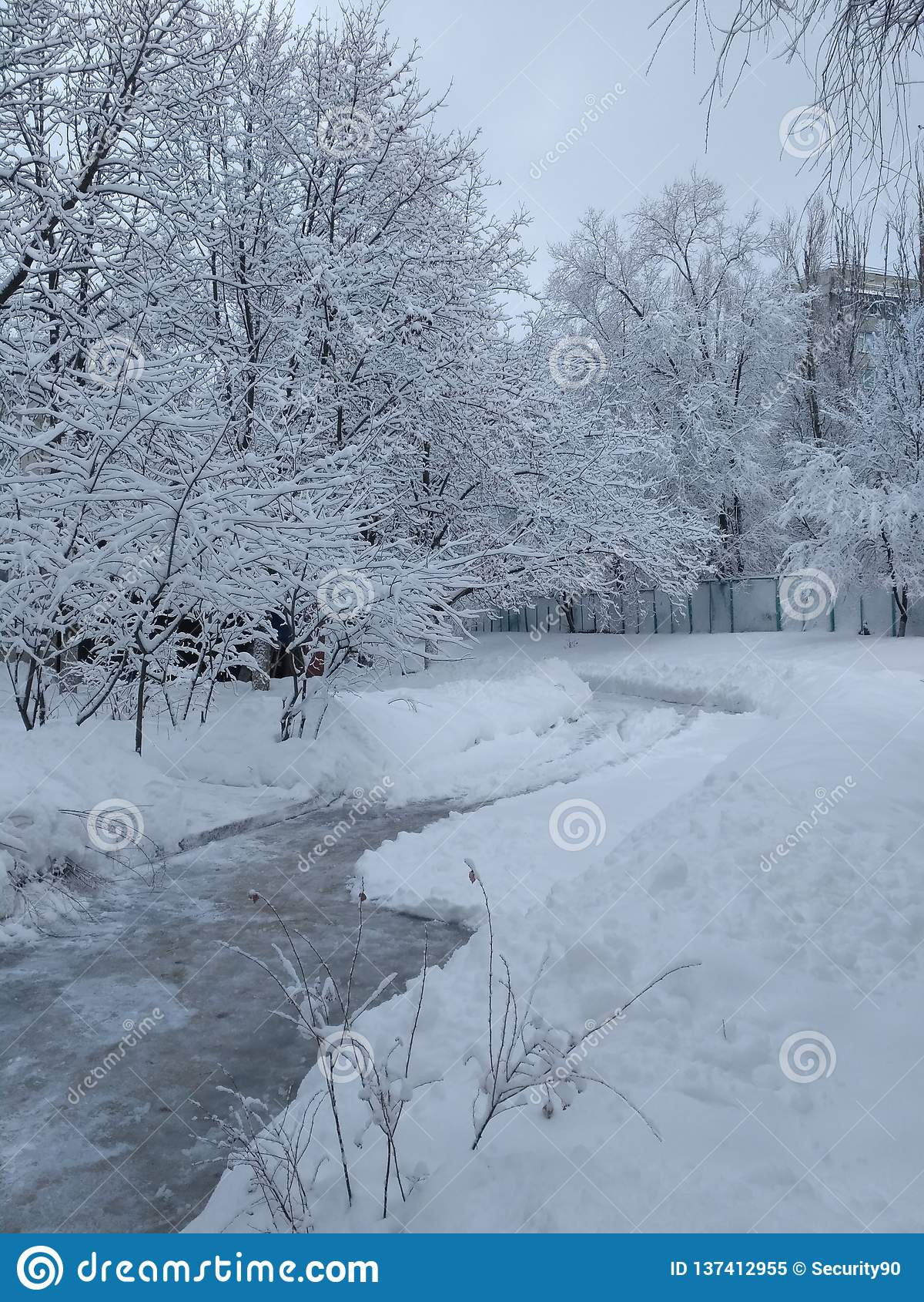 Skyfflad bana bland snö