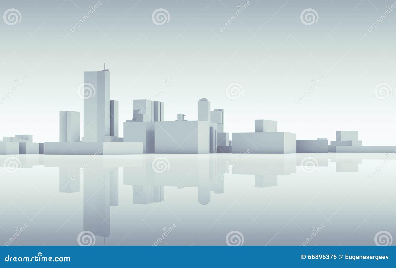 Skyline abstrata da arquitetura da cidade 3d tonificado azul