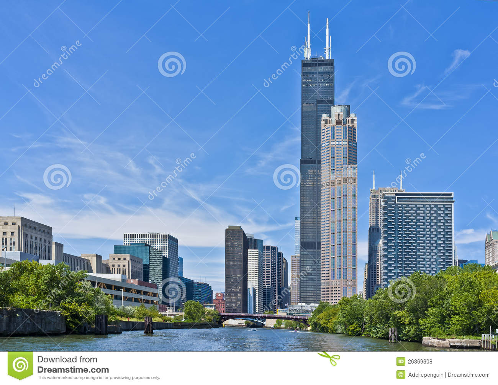 Skyline ao longo do rio de Chicago, Illinois