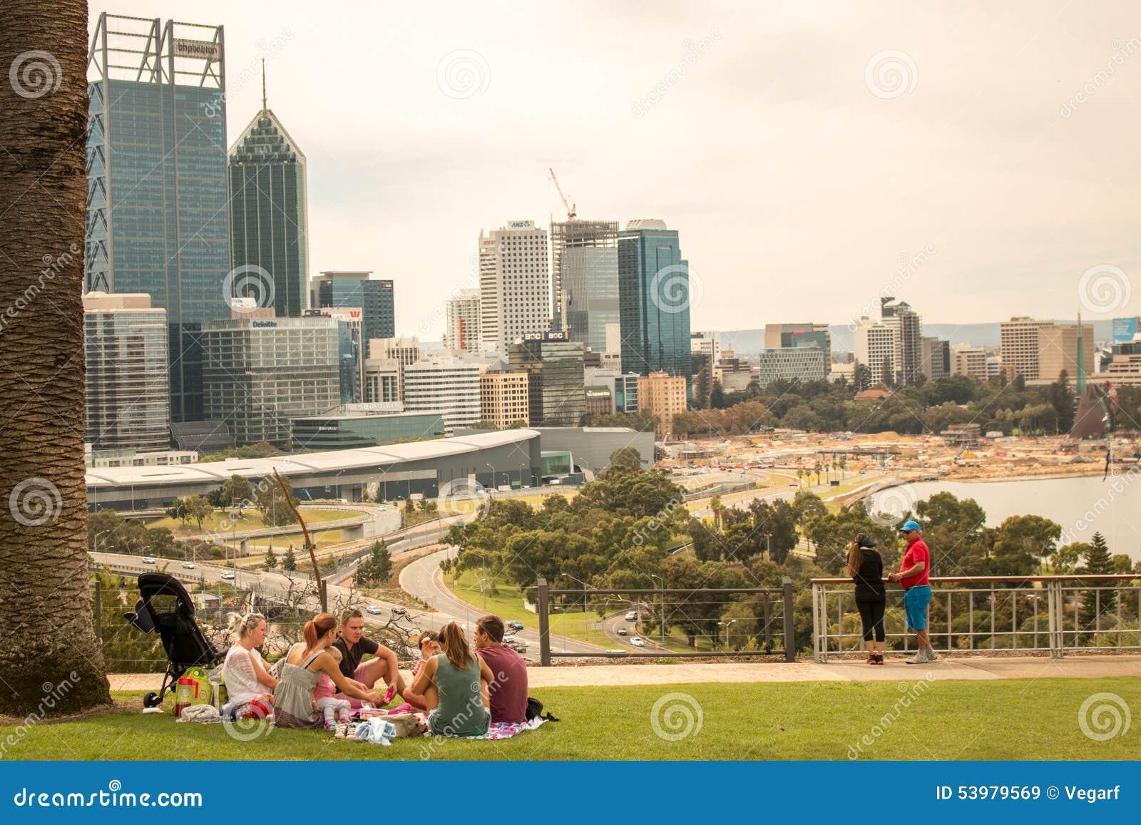 Skyline Austrália de Perth do piquenique