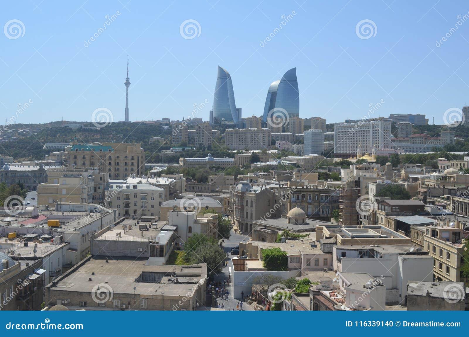 Skyline of Baku City, Capital of Azerbaijan at the Caspian Sea