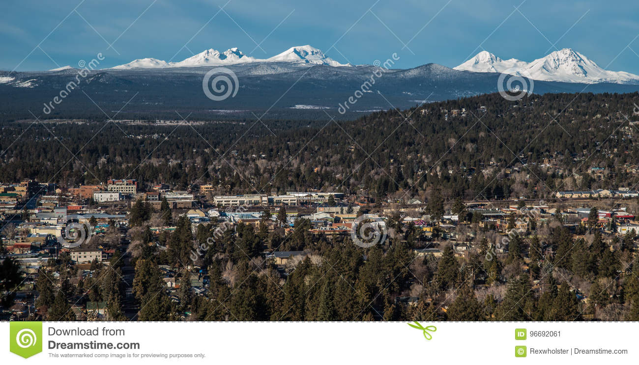 Skyline Of Bend Oregon With Cascade Mountains Stock Image