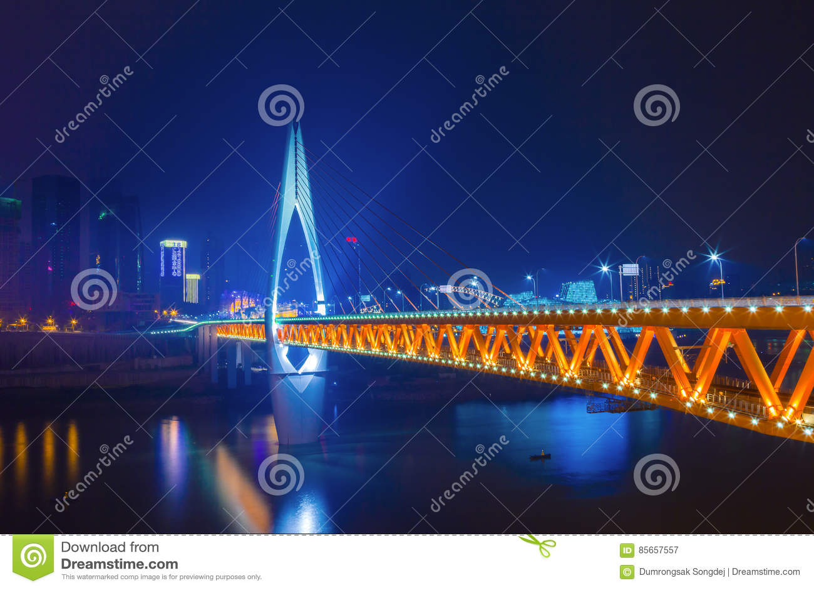 The skyline bridge over the Jialing river Landmark of Chongqing